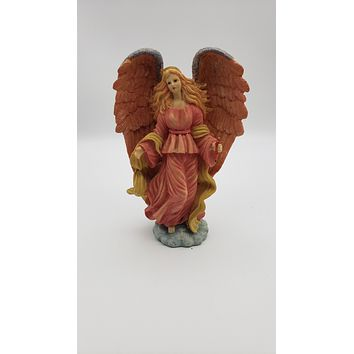 9in Resin Angel with Candle Figurine