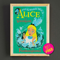 Vintage Disneyland Alice in Wonderland Fantasyland Attraction Poster Reprint Home Wall Decor Gift Linen Print - Buy 2 Get 1 FREE - 382s2g