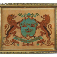 Antique Swedish Needlepoint Coat of Arms