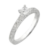 Princess Diamond Engraved Solitaire Ring 5/8ctw - Size 7