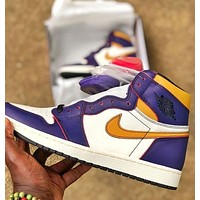 NikeSB x AirJordan1 High yellow and purple color matching couple sneakers shoes
