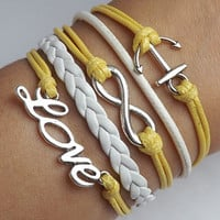 The ancient silver infinite love - anchor Leather Woven Bracelet