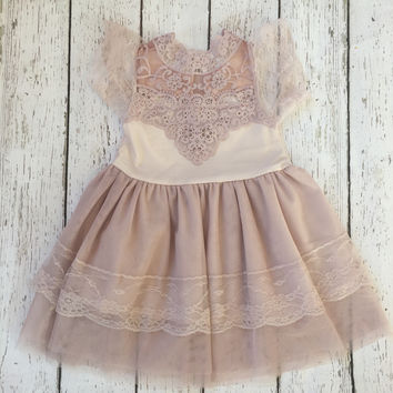 """The """"Isabelle"""" Blush Pink Lace Dress"""