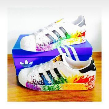 """""""Adidas"""" Fashion Women Multicolor Shell-toe Flats Sneakers Sport Shoes white ink jet"""