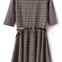 ROMWE | Belted Houndstooth Pleated Dress, The Latest Street Fashion