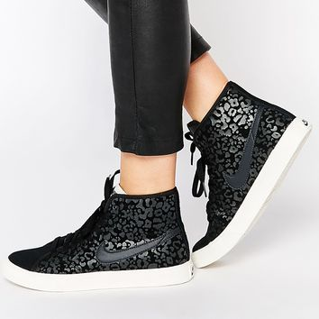 Nike Primo Court High Top Black Print Trainers