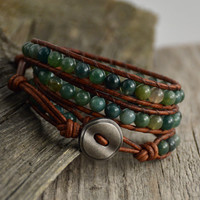 Moss green wrap bracelet. Beaded leather jewelry