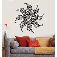 Vinyl Wall Decal Elephants India Flower Yoga Center Buddhism Stickers Unique Gift (1049ig)