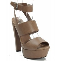 New Delicious Capable-S Open Toe Leatherette Strappy Platform Pump TAUPE