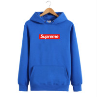 Tide brand men 's hooded sweater lovers sets of head jacket young men and women lovers Hoodies Classic Blue