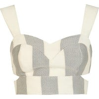 River Island Womens Grey and white stripe cut out bralet