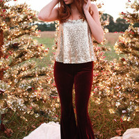 Fit to Flare Velvet Pants in Ruby Wine