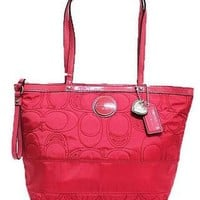 NWT COACH SIGNATURE Quilted POMEGRANATE PINK NYLON TOTE BAG PURSE STYLE F17668
