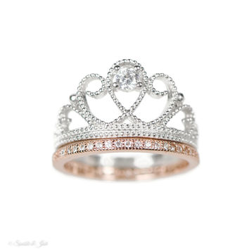 Sterling Silver Crown Ring and Rose Gold Band Set