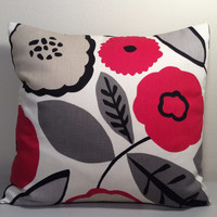 """2 Handmade Pillow Covers - Modern, Floral Print - READY TO SHIP - 14"""" x 14"""""""