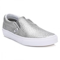 Vans Womens Metallic Silver Classic Slip On Leather Trainers