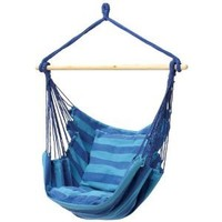The Original Club Fun Hanging Hammock Rope Chair For Indoor Outdoor Kids and Adults 265 lbs Seating for Patio, Bedroom, Dorm, Porch, Tree In Blue Stripes