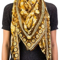 ICIK3SY Versace Women's Floral Animal Print Modal Cashmere Blend Scarf Brown