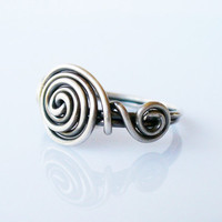 Sterling Silver Triple Spiral Ring   Oxidized 925 wire ring made to order