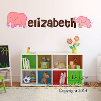 Mom and Baby Elephant  Custom Name Printed Fabric Repositionable Wall Decal