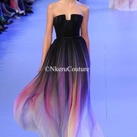 Colorful Sexy Ombre Chiffon Prom Evening Strapless with Pleats Women Dress S55 GF66