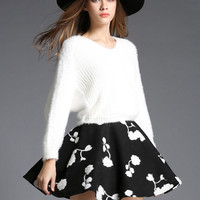 White V Neck Batwing Sweater With Black Skirt -SheIn(Sheinside)