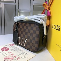 LV Louis Vuitton WOMEN'S DAMIER CANVAS SANTA MONICA INCLINED SHOULDER BAG