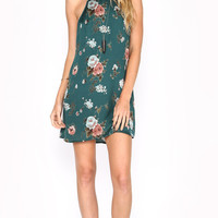 EXPOSED FLORAL SATIN DRESS - HUNTER GREEN
