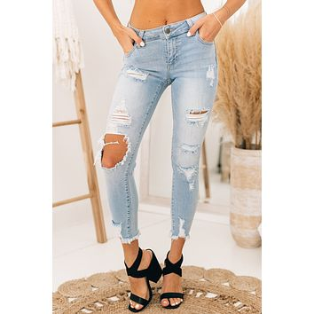 Effortless Attraction Mid Rise Distressed Jeans (Light Denim)