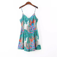 Print V-neck Backless Spaghetti Strap Shorts Denim Jumpsuit [4919898692]