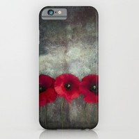 Three red poppies iPhone & iPod Case by Maria Heyens