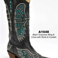 Corral Black/Turquoise Wing and Cross A1048 | Boot Country Online