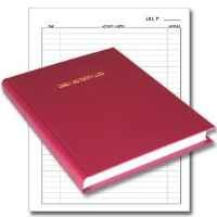 """BookFactory® Daily Activity Log Book / 365 Day Log Book (384 Pages - 8 7/8"""" x 11 1/4"""") / 365 Page Diary, Red Cover, Smyth Sewn Hardbound (LOG-384-DAY-A-LRRT32)"""
