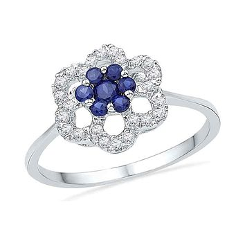 10k White Gold Round Created Blue Sapphire Diamond Cluster Ring 1/8 Cttw