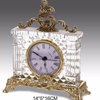 Italian Style Home Decorative Table Clock, Classical Brass with Crystal Desk Clock
