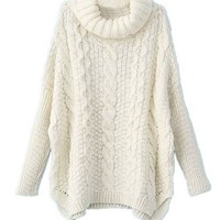 Sheinside Women's White Long Sleeve Turtleneck Chunky Cable Knit Loose Sweater Pullover