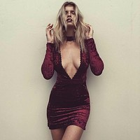 Velvet Dress Deep Lace V-neck
