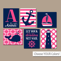 Girl Nautical Wall Art, CANVAS or Prints, Ocean Baby Nursery Artwork, Coastal Pink Bedroom Pictures, Whale Anchor Sailboat Set of 6 Set Sail