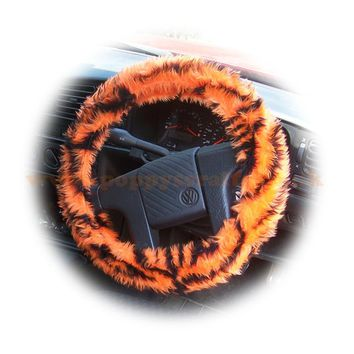Orange and black tiger stripe fuzzy car steering wheel cover