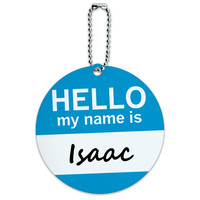 Isaac Hello My Name Is Round ID Card Luggage Tag