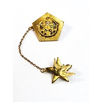 Vintage Order of the Eastern Star Masonic dove chatelaine brooch