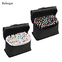 Behogar 80 PCS Color Paint Graphic Art Twin Nib Alcohol Based Ink Pen Marker Point Pen Set with Storage Bag rotuladores Markers