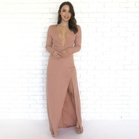 Settle Down Maxi Dress In Peach