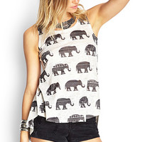 FOREVER 21 Vented-Back Elephant Top Taupe/Black
