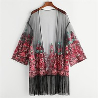 Embroidered Mesh Kimono Women Trim Paisley Vacation Blouse Long Sleeve Longline Beach Kimono