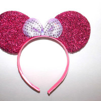 MINNIE MOUSE EARS Headband hot pink sparkle shimmer white Sequin Bow Mickey halloween costume- breast cancer awarness month- wear pink