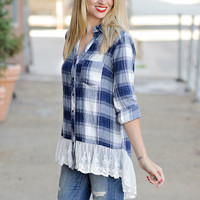 Owynn Navy/White Plaid Button-Down with Wide Lace Hem