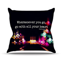 "Ingrid Beddoes ""Road Trip"" Neon Black Outdoor Throw Pillow"