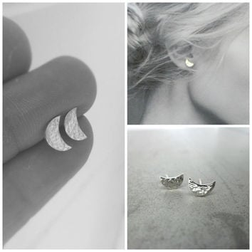 Sterling Silver Crescent Moon Small Stud Earrings, Lunar Love, Hammered Sterling Silver.
