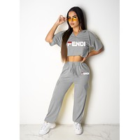 FENDI Fashionable Women Casual Print Short Sleeve Top Pants Set Two-Piece Grey